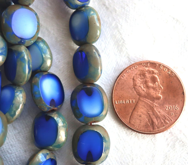 Ten 10 x 9mm oval Czech glass beads, opaque mabled royal blue & white glass, flat tablecut window beads with a picasso finish C02101 - Glorious Glass Beads