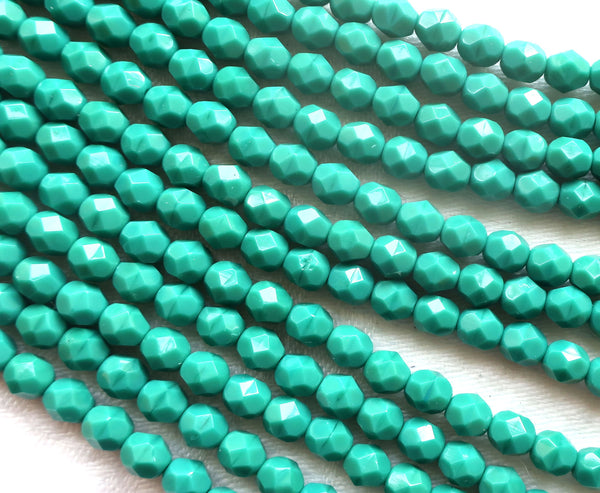25 6mm Czech glass beads - Persian Turquoise Green - opaque deep blue green firepolished, faceted round beads, C6625 - Glorious Glass Beads