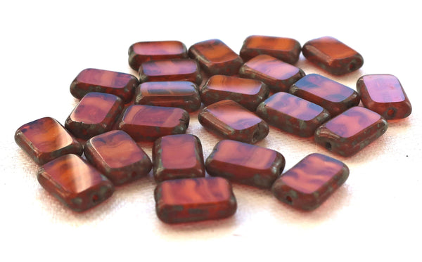 Lot of ten rectangular translucent, marbled Burnt Orange, Rust Picasso Czech glass rectangle beads, earthy, rustic table cut beads 12mm x 8mm, C11101 - Glorious Glass Beads