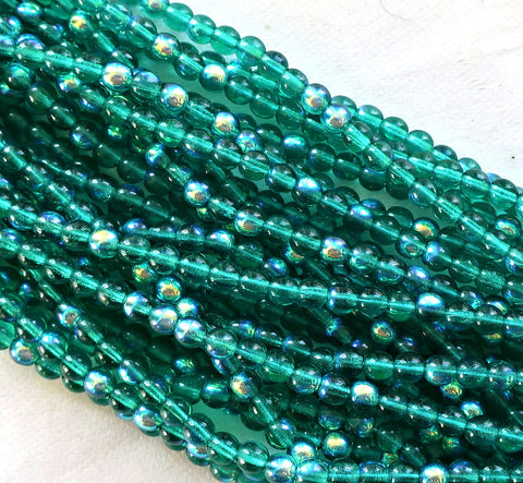Lot of 100 4mm Emerald Green AB Czech glass druks, pressed glass round druk beads C7601 - Glorious Glass Beads