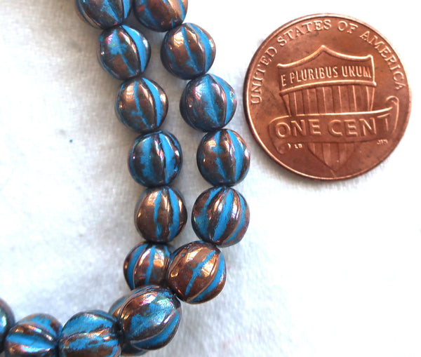 25 Czech 6mm glass melon beads, metallic bronze with a turquoise wash, earthy, rustic, pressed beads 52101 - Glorious Glass Beads