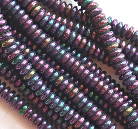 Lot of 50 6mm Czech glass rondelle beads, purple iris flat spacers or rondelles C9601