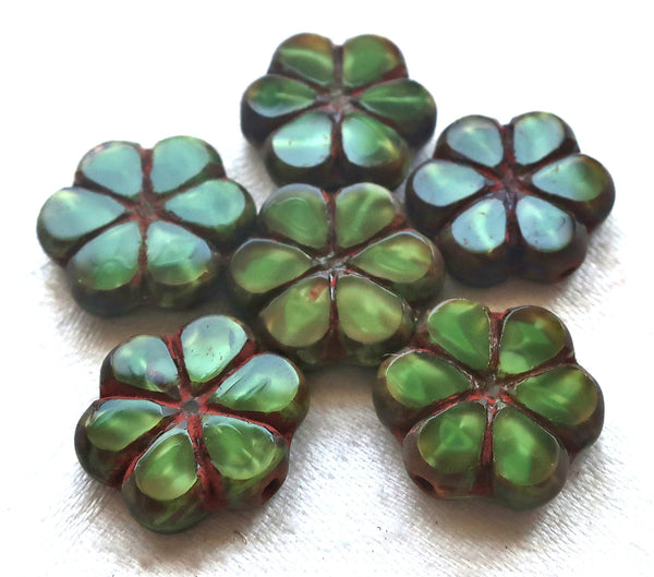 Lot of six Czech glass flower beads, 15mm table cut, carved, opaque, marbled forest or hunter green silk with a picasso finish, C34106