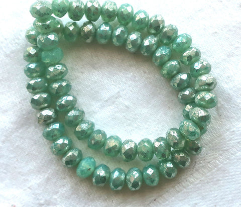 30 small puffy rondelle beads, mint green with a silvery mercury finish, 3mm x 5mm faceted Czech glass rondelles 53101 - Glorious Glass Beads