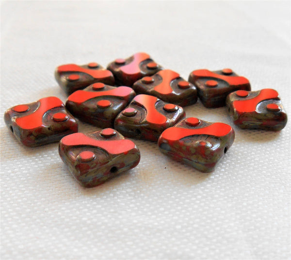 Lot of ten 10mm x 10mm square opaque bright red table cut, picasso Czech glass beads with dots C14101 - Glorious Glass Beads