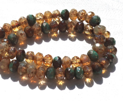 30 small Czech glass puffy rondelle beads, rustic earth tones picasso mix 3mm x 5mm faceted rondelles 53101