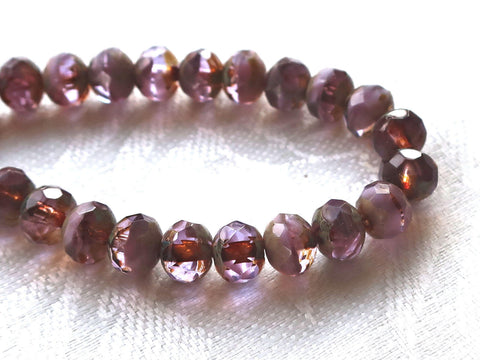 25 Czech glass faceted puffy rondelle beads, 5 x 7mm transparent & milky purple, lavender, amethyst mix, picasso finish rondelles C00201 - Glorious Glass Beads