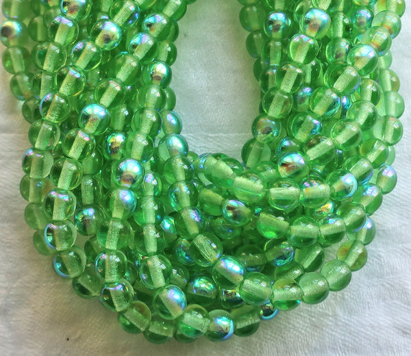 50 6mm Czech glass druks, peridot green AB smooth round druk beads C3701 - Glorious Glass Beads