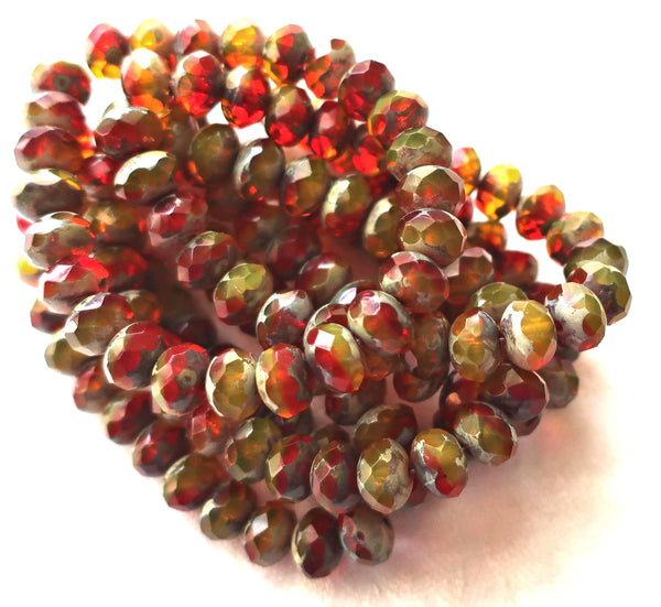lot of 25 Czech glass faceted puffy rondelle beads, Transparent Red,Yellow, Orange & Green Picasso mix 6 x 8mm rustic earthy rondelles 00301