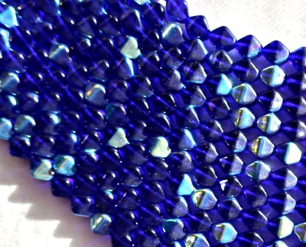 Fifty 6mm Cobalt Blue AB bicones, Czech pressed glass bicone beads, C3850 - Glorious Glass Beads