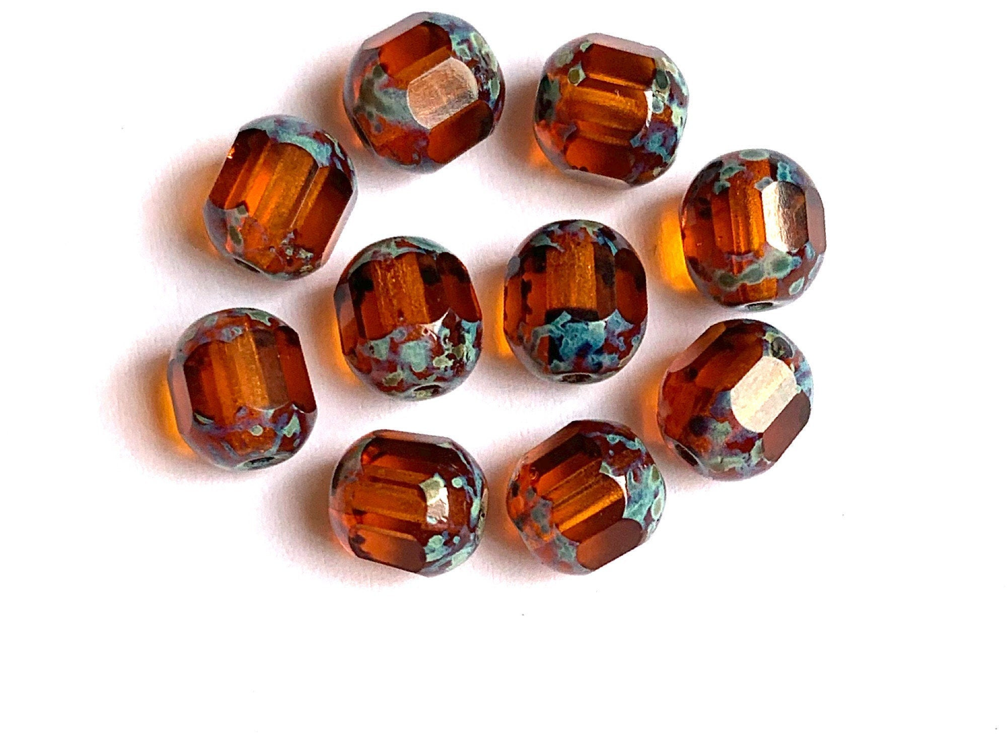 9  Halloween Orange Faceted Ribbed Round Acrylic Beads  15mm