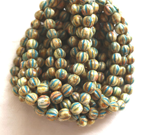 25 Striped ivory, off white & blue melon beads, 6mm pressed Czech glass beads with a turquoise wash C2701