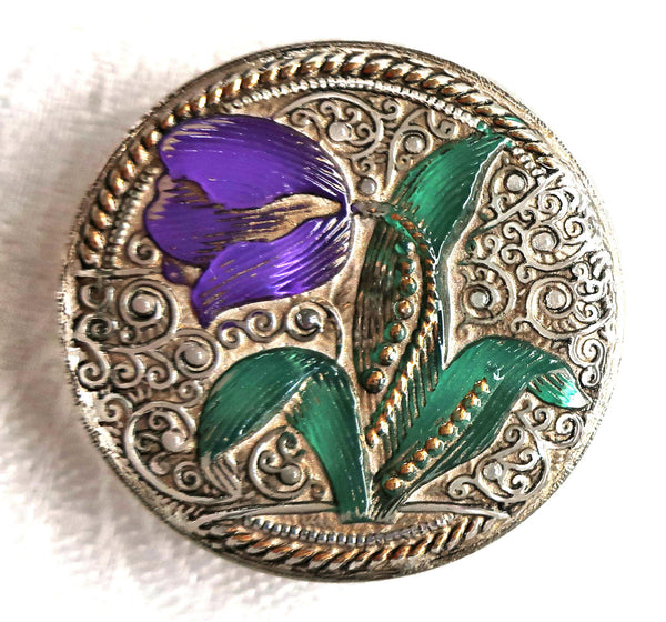 One 32mm Czech glass flower button, purple tulip w/ green leaves & a plaitnum wash w/gold accents, decorative floral shank button C52401 - Glorious Glass Beads