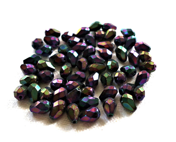 Lot of 25 7 x 5mm Brown Iris teardrop Czech glass beads, faceted firepolished tear drops C7701 - Glorious Glass Beads