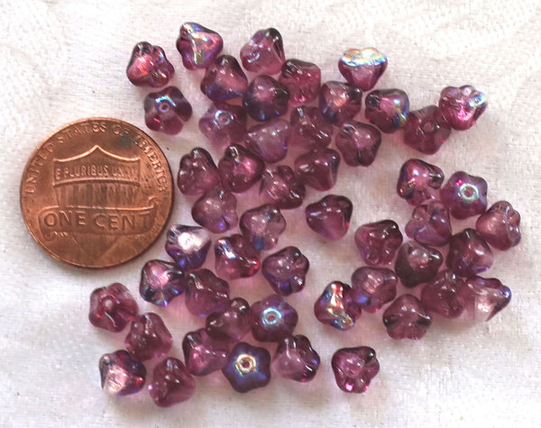 Lot of 50 6mm x 4mm Violet AB baby Bell Flower Czech glass beads, purple or Amethyst AB pressed glass beads C80101 - Glorious Glass Beads