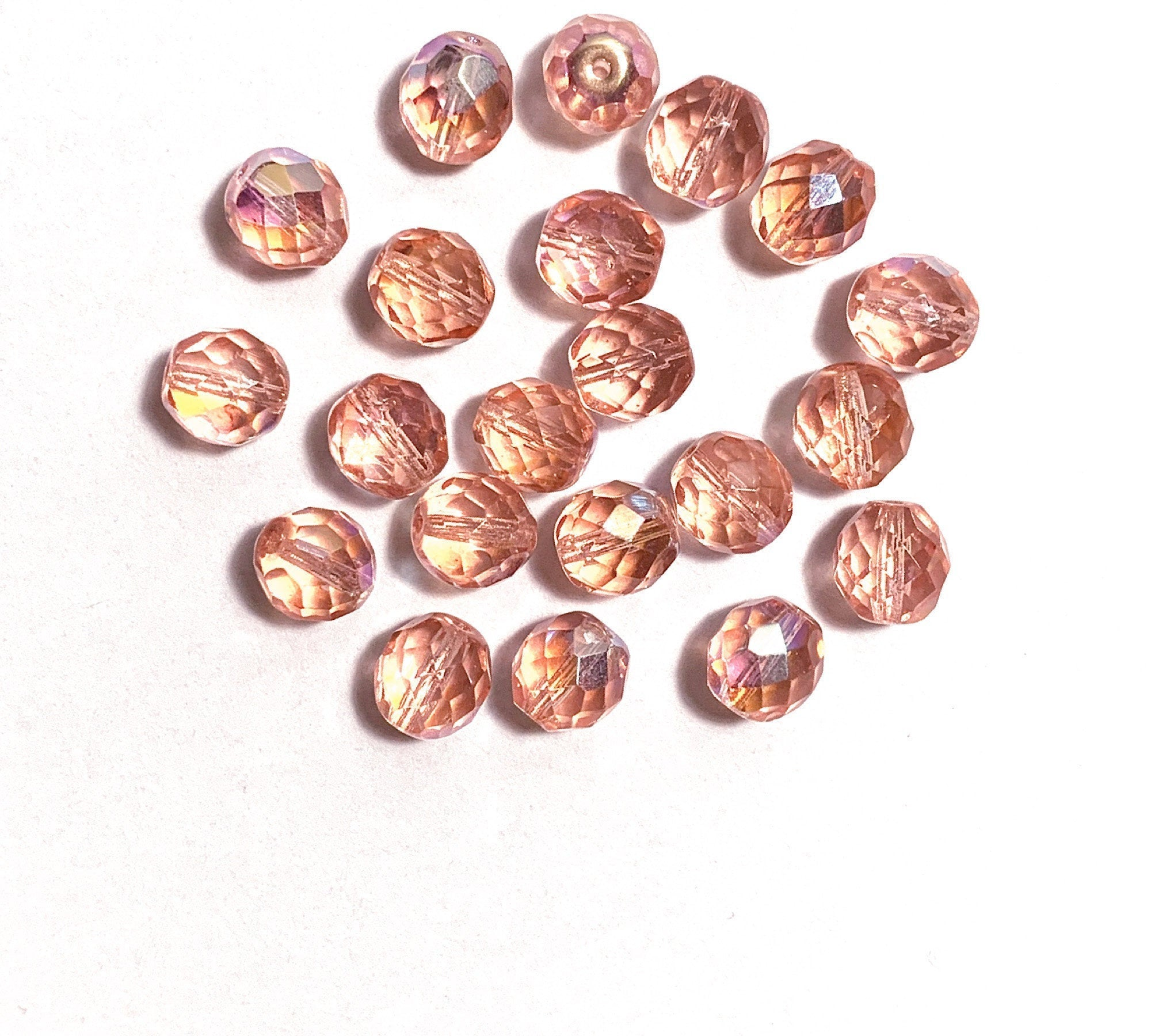 25/% OFF Czech Glass English Cut Bead Modern Antiques CHOOSE YoUR COLOR: Halo Champagne more to come 10mm