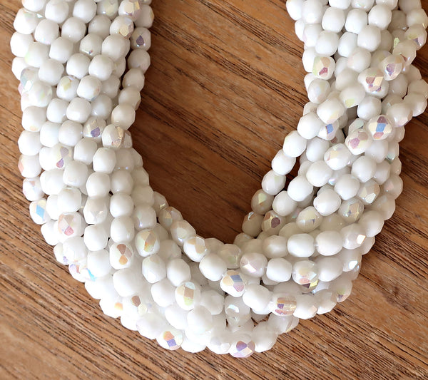 Lot of 50 4mm Czech Opaque Chalk White AB glass beads, firepolished round faceted beads 6901 - Glorious Glass Beads