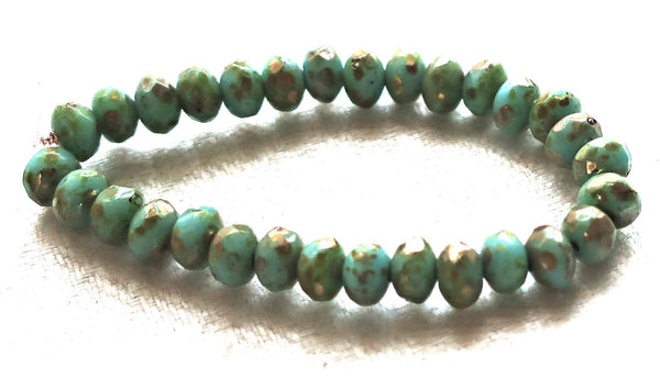 30 Opaque sky blue Picasso puffy rondelles beads, small 3 x 5mm faceted Czech glass rondelles C00201
