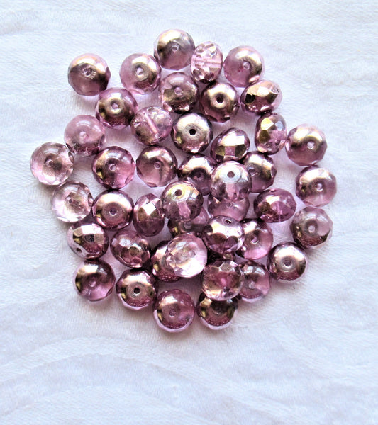 25 6 x 9mm Metallic Pink & Crystal faceted puffy rondelle beads - Czech glass beads C19101 - Glorious Glass Beads