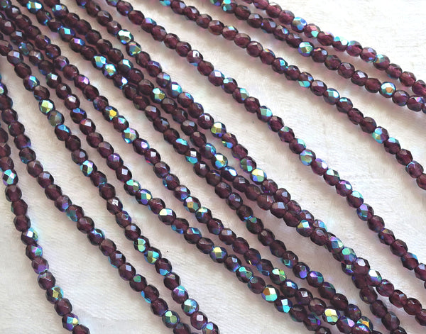 Lot of 50 4mm Dark Amethyst AB Czech glass beads, purple, amethyst, firepolished, faceted round beads, C8550