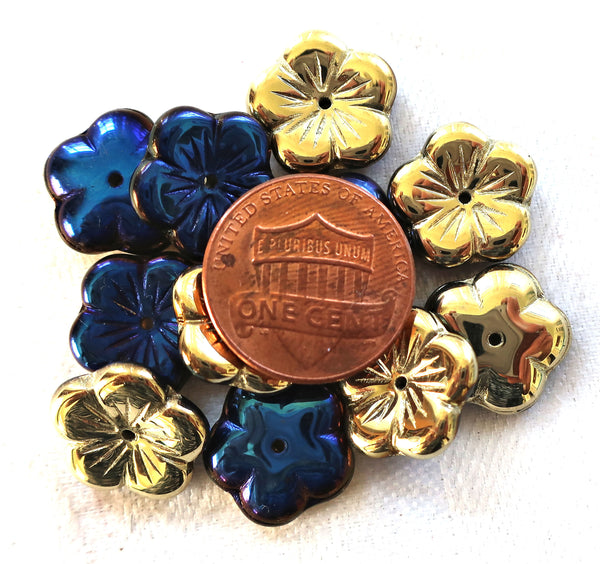 Ten 14mm Opaque, Metallic California Blue & Gold flower beads, Czech glass spacer or cap beads C9001