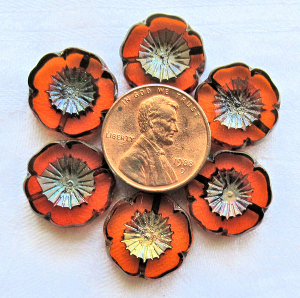 Five 16mm Czech glass flower beads - table cut, carved, transparent burnt orange picasso Hawaiian flower beads C76105 - Glorious Glass Beads