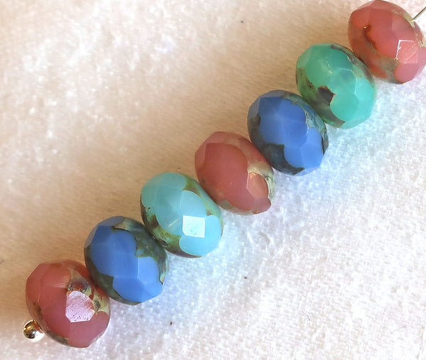 25 Czech glass faceted puffy rondelles, 6 x 8mm translucent pink. blue & aqua picasso color assortment, sale price rondelle beads, 51101 - Glorious Glass Beads