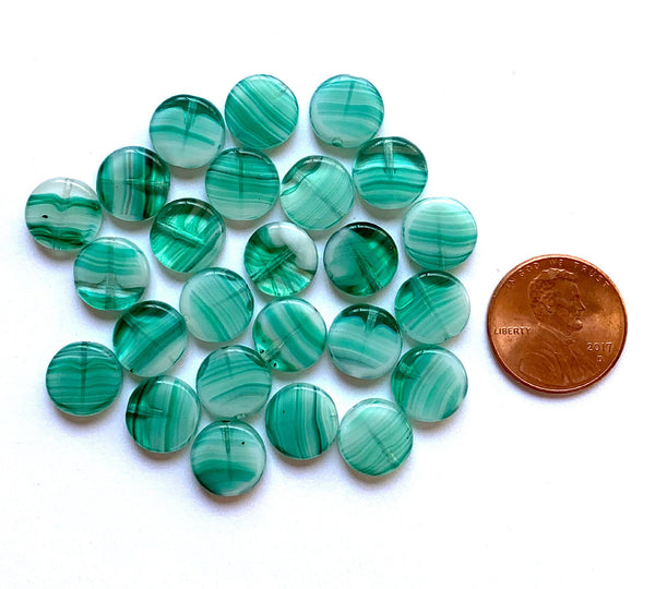15 Czech glass coin beads -10mm  light teal blue green marbled, milky, striped disc beads C0057