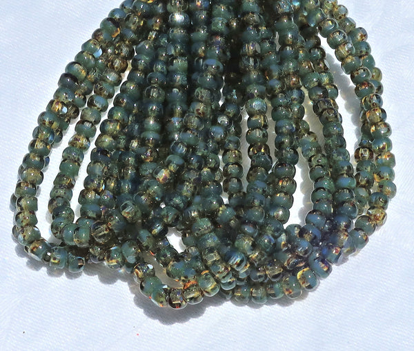 50 4 x 3mm,Tricut, Tri-cut, 3 cut Round Czech glass beads, opaque fern green & transparent yellow mix picasso, faceted 6/0 seed beads C80101 - Glorious Glass Beads