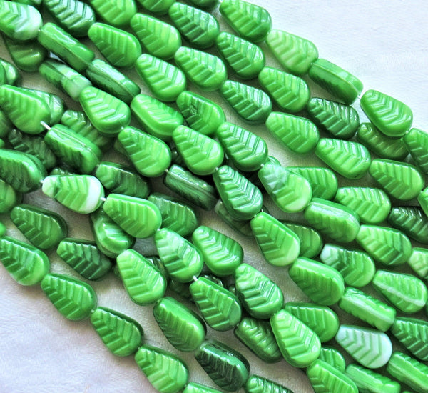 Lot of 25 Czech glass leaf beads - Opaque green and white marbled vintage style beads - center drilled 12 x 8mm beads C0701