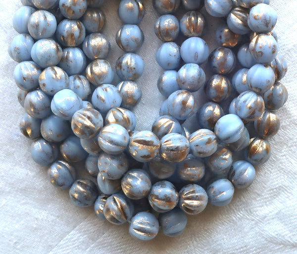 Lot of 25 Czech pressed glass melon beads, 6mm light opaque alice blue with gold accents, C00101