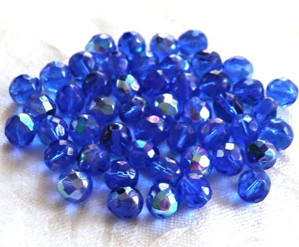 25 8mm Czech glass beads, Sapphire Blue AB, firepolished faceted round beads C1625