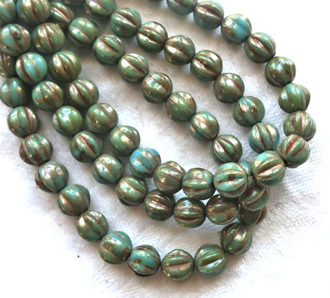 25 Czech pressed glass melon beads, 6mm opaque Turquoise Blue with a Picasso finish C0901 - Glorious Glass Beads