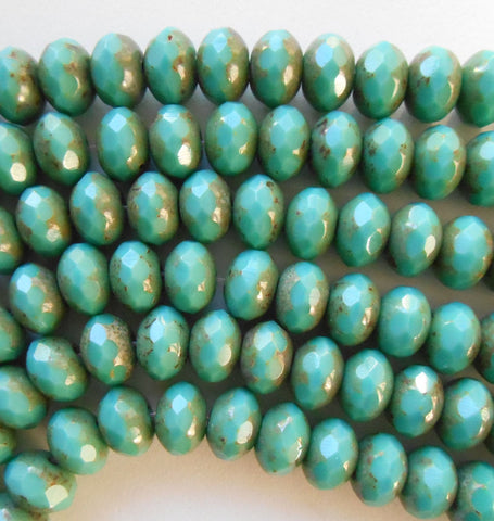 25 6 x 9mm Czech Green Turquoise Picasso Faceted Puffy Rondelle Beads, blue green Czech glass beads C28125