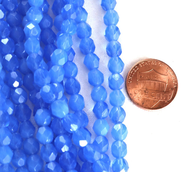 Lot of 25 6mm Milky Sapphire Blue Czech glass beads, firepolished faceted round beads C5425
