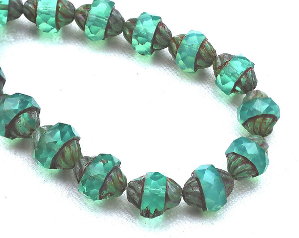 Five light teal Czech glass turbine beads. 11 x 10mm light slightly milky blue green faceted saucer beads with a Picasso finish C01101 - Glorious Glass Beads