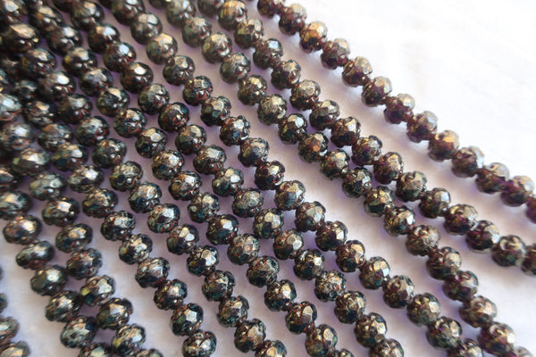 Lot of 25 Czech glass rosebud beads - tanzanite bronze picasso - 5 x 6mm - faceted - firepolished - antique cut beads C1801