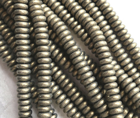 Lot of 50 6mm Czech glass rondelle beads, matte metallic suede gold, flat spacers or rondelles C6601