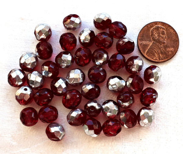 L0t of 25 8mm Ruby Red, Garnet & silvver Czech glass beads, firepolished, faceted round beads, C9625
