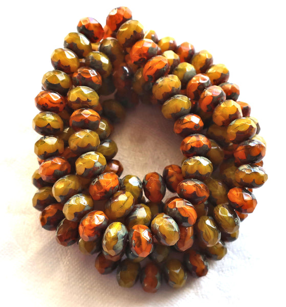 lot of 25 Czech glass faceted puffy rondelle beads, Translucent Orange and Yellow Opal Picasso mix. 6 x 8mm rustic, earthy, rondelles 02301