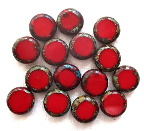 Lot of 15 Czech red glass coin disc beads - 11mm flat round beads - opaque bright red red picasso beads 02201 - Glorious Glass Beads