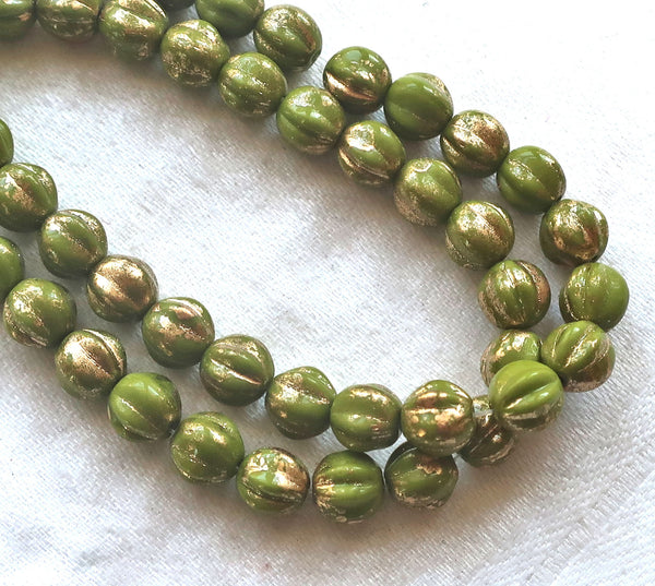 25 Czech pressed glass melon beads. 6mm Avocado Green with gold accents, C00101