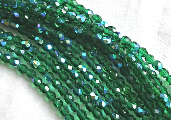 Lot of 50 4mm Emerald Green AB Czech glass beads, round faceted firepolished beads, C8550