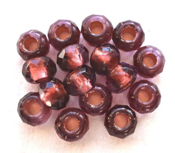 Five 12mm x 8mm large burgundy, red wine, Amethyst gold lined faceted Czech glass roller, rondelle beads, big 5mm holes, big hole bead 43101
