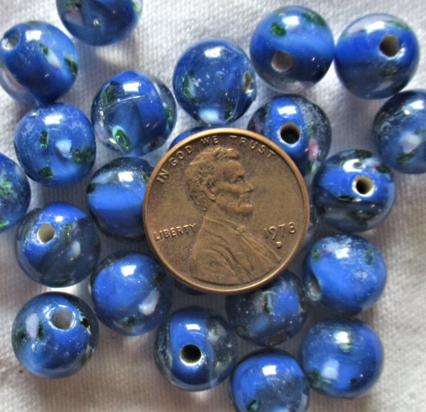 Lot of ten 10mm royal blue floral druk beads - made in India glass flower smooth round druks C7801