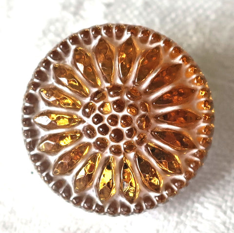 One 18mm Czech glass flower button, gold amber sunflower with a white wash, decorative floral shank buttons 52201