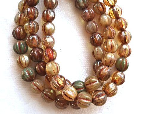 25 Czech 6mm glass melon beads, Striped champagne picasso beads, earthy, rustic mix pressed beads C0801