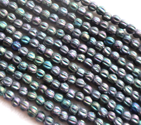 Lot of 100 3mm Czech glass melon beads - matte metallic purple iris C11801