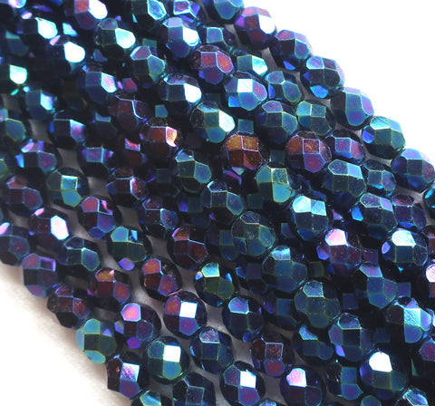 Lot of 25 6mm Blue Iris Czech glass beads, firepolished, faceted round beads C1501