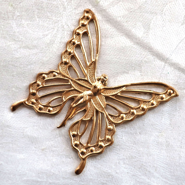 1 large fairy, goddess butterfly brass stamping, Art Nouveau, Victorian, pendant, charm, connector, ornament, 57 x 57mm, USA made C8901 - Glorious Glass Beads